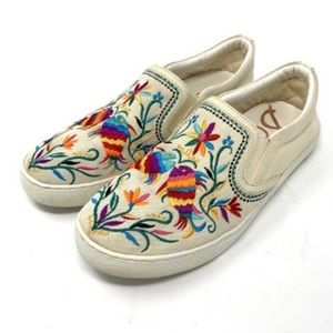 Sam Edelman Embroidered Floral Fish Sneakers 8.5